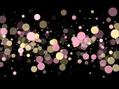 Pink Gold Confetti Circle Decoration For Party Banner Background. Bokeh Lights Effect Vector. Gold,  poster