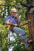 stock photo of lineman  - Utility worker up on pole checking service - JPG