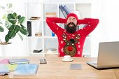 Looking To Winter Holidays. Bearded Man Smile In Winter Knitwear Fashion. Happy Hipster Keep Hands B poster