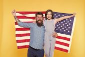 Happy To Be Americans. Happy Independence Day. Bearded Man And Little Girl Happy Smiling With Americ poster
