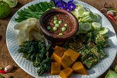 Thai Traditional Local Food : Spicy Shrimp Paste Dip Or Fried Shrimp Paste Sauce (nam Prik Kapi) Wit poster