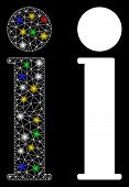 Glossy Mesh Information Icon With Glitter Effect. Abstract Illuminated Model Of Information. Shiny W poster