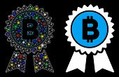 Bright Mesh Bitcoin Award Seal Icon With Glare Effect. Abstract Illuminated Model Of Bitcoin Award S poster