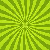 Sun Rays Background. Green Radiate Sun Beam Burst Effect. Sunbeam Light Flash Boom. Template Starbur poster