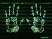 Palm Print Recognition And Access Concept. Security Software By Biometric Data. Identification By Ha poster