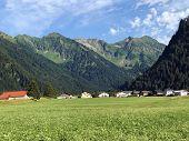 Alpine Mountains Gantspitz, Waenifirst Or Wanifirst, Fulberg And Flaeschenberg Or Flaschenberg Above poster