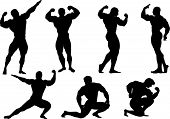 image of muscle man  - black silhouettes of the mans executing power exercises - JPG