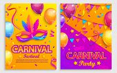 Set Of Flyers For Carnival Festival.mask With Feathers, Confetti, Balloons, Flags For Party.mardi Gr poster