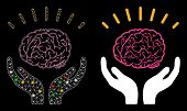 Glossy Mesh Human Brain Knowledge Icon With Glitter Effect. Abstract Illuminated Model Of Human Brai poster