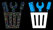 Glowing Mesh Tools Bucket Icon With Lightspot Effect. Abstract Illuminated Model Of Tools Bucket. Sh poster