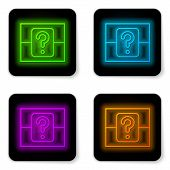 Glowing Neon Line Mystery Box Or Random Loot Box For Games Icon Isolated On White Background. Questi poster