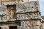 Close-up View Of The Intricate Detail On The Templo De Los Frescos Mayan Ruin In Tulum, Mexico. poster