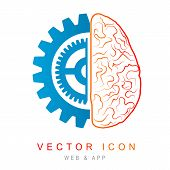 Brain And Gear Line Icon, Abstract Outline Illustration. Design Concept For Business Solutions, High poster