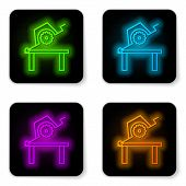 Glowing Neon Line Table Saw For Woodwork Icon Isolated On White Background. Power Saw Bench. Black S poster