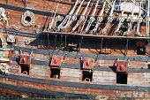 image of galleon  - Detail of an historical galleon moored in the port of Genova Italy - JPG