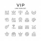 Set Line Icons Of Vip Isolated On White. Very Important Person, Pass Card, Royal Sign, Celebrity Sym poster