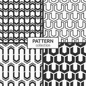 Set Of Four Abstract Geometric Seamless Patterns. Modern Stylish Textures. Repeating Geometric Tiles poster