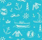 Marine Drawings, Seamless Pattern, Light Blue, Vector/marine Drawings, Seamless Pattern, Light Blue, poster