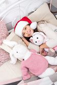 New Year New Smile. Santa Baby Go To Sleep Feeling Happy. Little Girl With Happy Smile Relax In Bed. poster