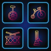Set Line High Striker Attraction With Big Hammer, Drum With Drum Sticks, Unicycle Or One Wheel Bicyc poster