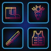 Set Line Hunting Jacket, Hunter Knife, Hunter Boots And Deer Head With Antlers. Gradient Color Icons poster
