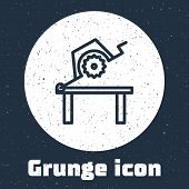 Grunge Line Table Saw For Woodwork Icon Isolated On Grey Background. Power Saw Bench. Monochrome Vin poster