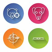 Set Line Hunt On Bear With Crosshairs, Hunting Dog, Hunt On Duck With Crosshairs And Trap Hunting. C poster