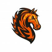 Stallion Mustang Isolated Horse Head. Vector Equestrian Sport Mascot, Racehorse Animal poster