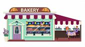 Bakery Flat Vector Illustration. Pastry Cafe Exterior. Bakeshop Front View. Patisserie Establishment poster