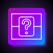 White Line Mystery Box Or Random Loot Box For Games Icon Isolated On Black Background. Question Box. poster