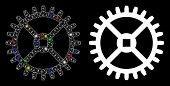 Glowing Mesh Clock Gear Icon With Glare Effect. Abstract Illuminated Model Of Clock Gear. Shiny Wire poster