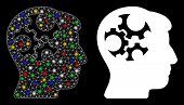 Glossy Mesh Mind Gears Icon With Lightspot Effect. Abstract Illuminated Model Of Mind Gears. Shiny W poster