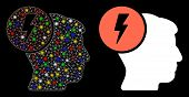 Bright Mesh Brain Electricity Icon With Glitter Effect. Abstract Illuminated Model Of Brain Electric poster