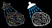 Glowing Mesh Brain Washing Icon With Lightspot Effect. Abstract Illuminated Model Of Brain Washing.  poster