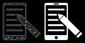 Bright Mesh Mobile Edit Pencil Icon With Sparkle Effect. Abstract Illuminated Model Of Mobile Edit P poster