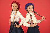 On Same Wave. Schoolgirls Wear Formal School Uniform. Children Beautiful Girls Long Braided Hair. Li poster