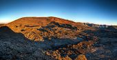 Panoramic landscape of Piton de la Fournaise volcano, Reunion Island National Park.