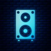 Glowing Neon Stereo Speaker Icon Isolated On Brick Wall Background. Sound System Speakers. Music Ico poster