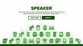 Speaker Assistant Landing Web Page Header Banner Template Vector. Voice Speaker Assistance, Smartpho poster