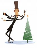 Mustache Man In The Top Hat Keeps Christmas And New Year Day Isolated Illustration. Funny Mustache M poster