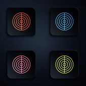 Color Neon Line Earth Structure Icon Isolated On Black Background. Geophysics Concept With Earth Cor poster