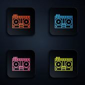 Color Neon Line Dj Remote For Playing And Mixing Music Icon Isolated On Black Background. Dj Mixer C poster