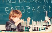 Boy Microscope And Test Tubes School Classroom. Knowledge Concept. Fascinating Subject. Knowledge Da poster