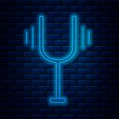 Glowing Neon Line Musical Tuning Fork For Tuning Musical Instruments Icon Isolated On Brick Wall Bac poster