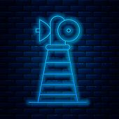 Glowing Neon Line Antenna Icon Isolated On Brick Wall Background. Radio Antenna Wireless. Technology poster