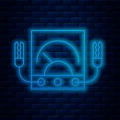 Glowing Neon Line Ampere Meter, Multimeter, Voltmeter Icon Isolated On Brick Wall Background. Instru poster