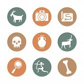 Anthropology And Archeology Icons Set For Science, School, University. Flat Style. Camera, Skull, Pe poster