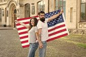 Celebrating Independence Day Together. Hipster And Sexy Woman Holding American Flag On Independence  poster
