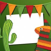 stock photo of pinata  - mexican party card with cactus pinata and bunting with clipping mask - JPG