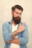 Barber Salon. Well Groomed Macho. Brutal Handsome Hipster Man On Grey Wall Background. Bearded Man T poster